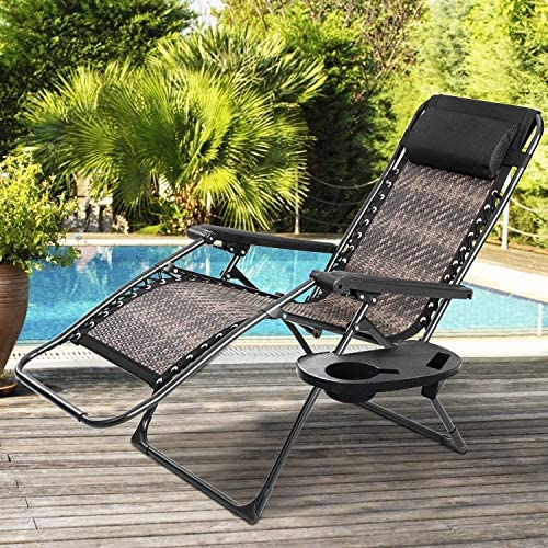 Incbruce Zero Gravity Folding Recliner Chair, Adjustable Patio Lounge Chaise, Outdoor Wicker Rattan Furniture with Cup Holder and Pillow for Poolside, Yard, Beach Gradient Brown