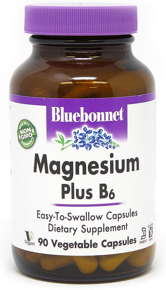 BlueBonnet Magnesium Plus B-6 Vegetarian Capsules, 90 Count: Health & Personal Care