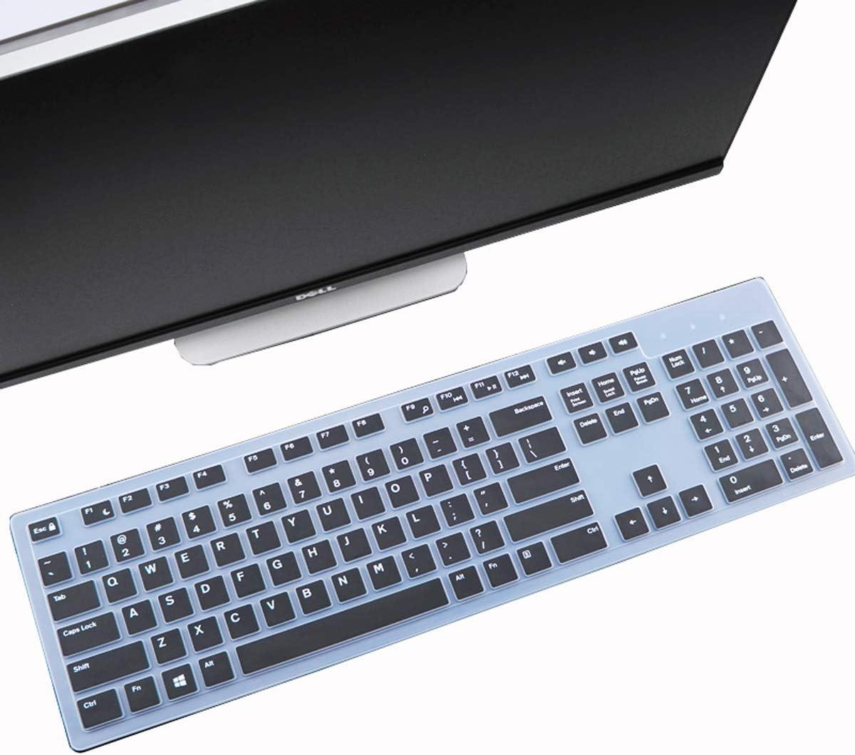Keyboard Cover Skin Fit Dell KM636 Wireless Keyboard/Dell KB216 Wired Keyboard/Dell Optiplex 5250 3050 3240 5460 7450 7050/Dell Inspiron AIO 3475/3670/3477 All-in one Desktop-Black
