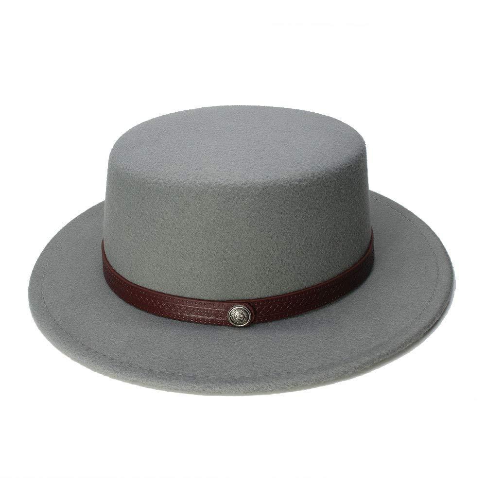 Retro Kid Vintage Wolle Breiter Krempe Kappe Schweinefleisch Pie Porkpie Bowler Hats Solide Kaffee Lederband Slouch Style Mütze
