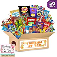 Thinking of You Care Package (50 Count) Ultimate Sampler Bars, Cookies, Chips, Candy Snacks Box | Fantastic Gift for Men & Women, College Students, Military, Get Well, Friends & Family, Valentines day