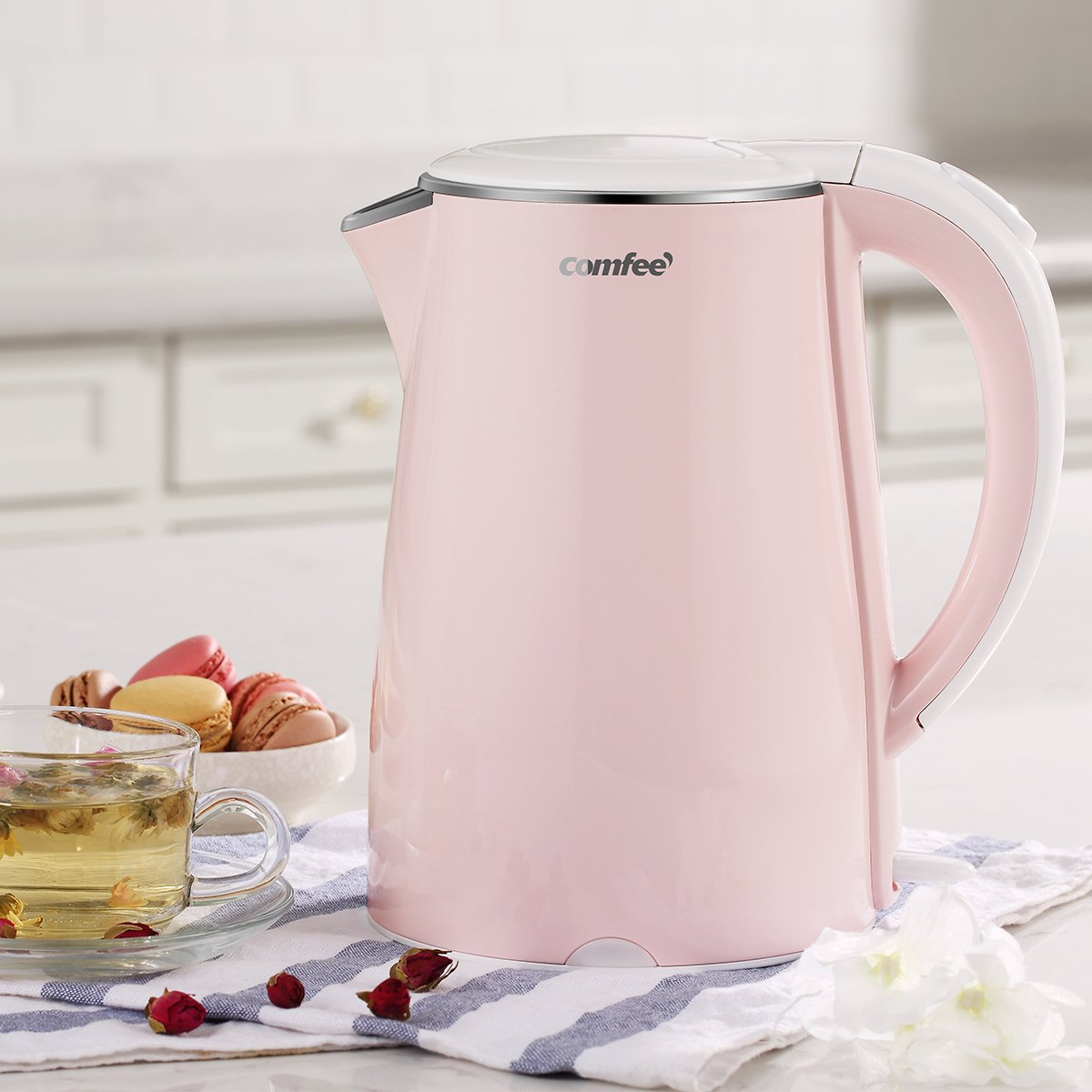 COMFEE' MK-HJ1705a1 Electric Kettle Teapot 1.7 Liter Fast Water Heater Boiler 1500W BPA-Free, Quiet Boil & Cool Touch Series, Auto Shut-Off and Boil Dry Protection, 1.7L, Baby Pink by COMFEE' (Image #3)