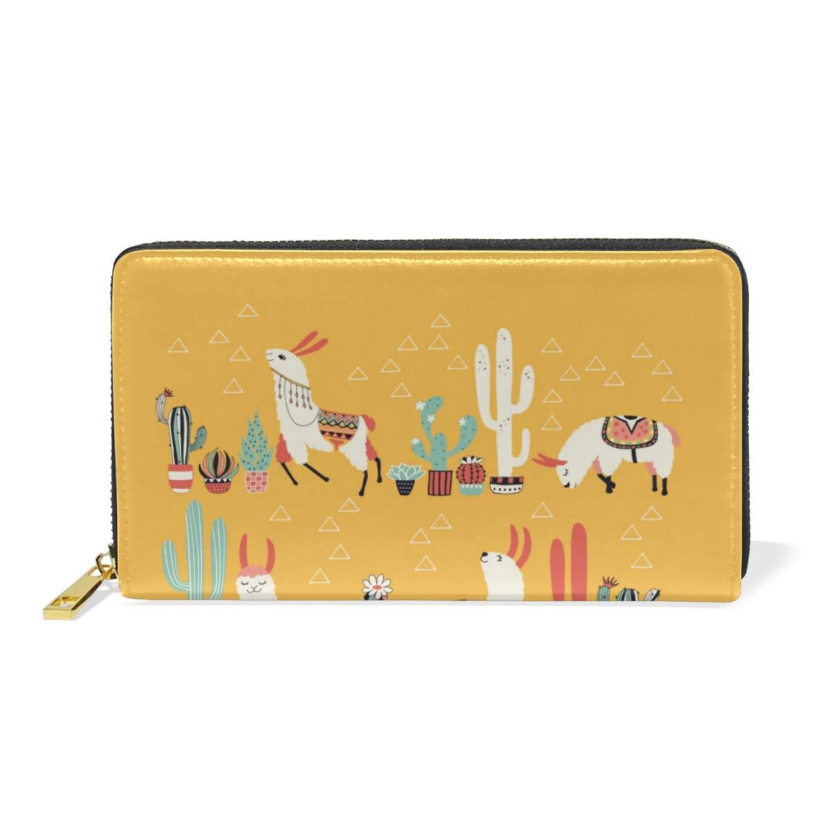 GIOVANIOR Cute Llama Alpaca Cactus Womens Clutch Purses Organizer And Handbags Zip Around Wallet