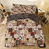 Eastern King Bed Vs King All Season Flannel Bedding Duvet Covers Sets for Girl Boy Kids 4-Piece Full for bed width 6.6ft Pattern by,Moroccan,Tile Pattern with Squares of Various Sizes Eastern Inspired Oriental Decorative,Cr