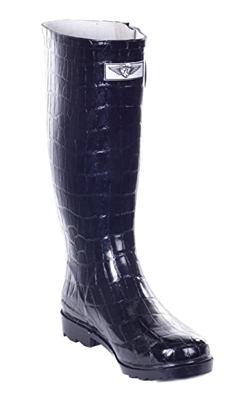 6c6caed8df9d Forever Young Women Rubber Rain Boots, Safari Designs, Black Croco, 5