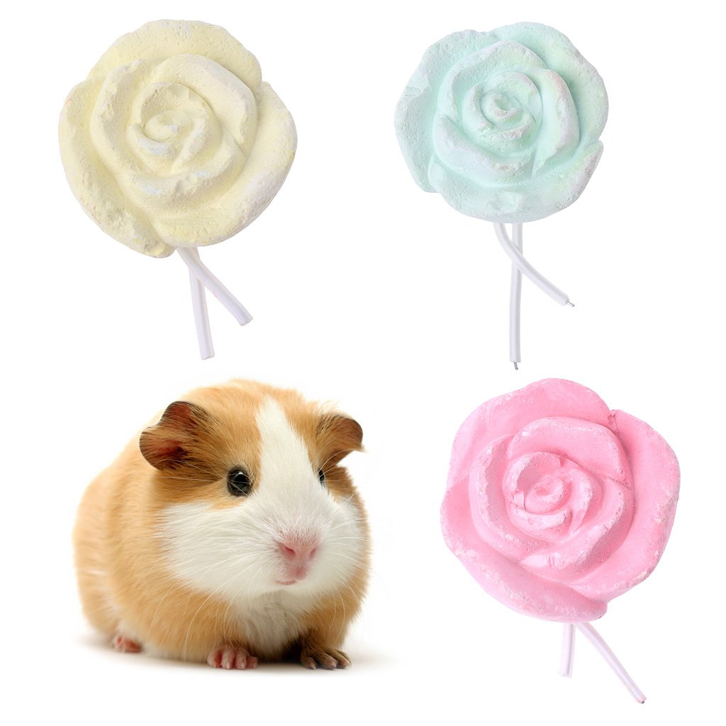 GMSP Pet Rabbit Hamster Bird Teeth Grinding Calcium Stone, Rose Shape Chew Toy.