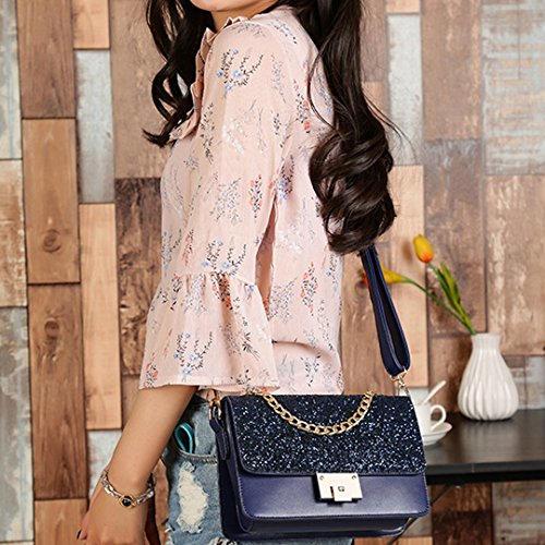 Multi Purse Felice blue Crossbody Shoulder Glitter Sequins Chain Bag Compartment Tote Women Bag Leather Handbag ZZOq8w4