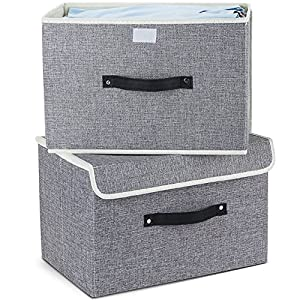 Storage Bins,Mee'life Set of Two Foldable Storage Box with Lids and Handles Storage Basket Storage Needs Containers Organizer With Built-in Cotton Fabric Closet Drawer Removable Dividers (Light Gray)