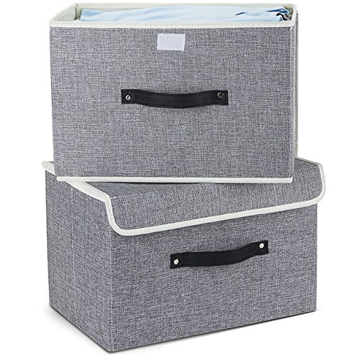 Storage Bins,Mee'life Set of Two Foldable Storage Box with Lids and Handles Storage Basket Storage Needs Containers Organizer With Built-in Cotton Fabric Closet Drawer Removable Dividers (Light Gray) ()