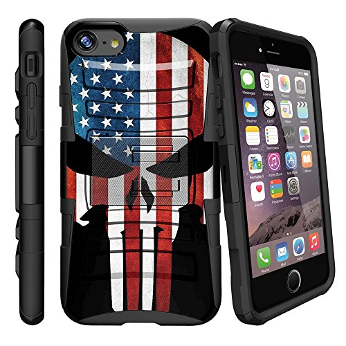 MINITURTLE Compatible with Apple iPhone 8 Plus 2017 Rugged, BeltClip Case [Clip Armor] Hard Shell w/Holster + Stand American Flag Skull