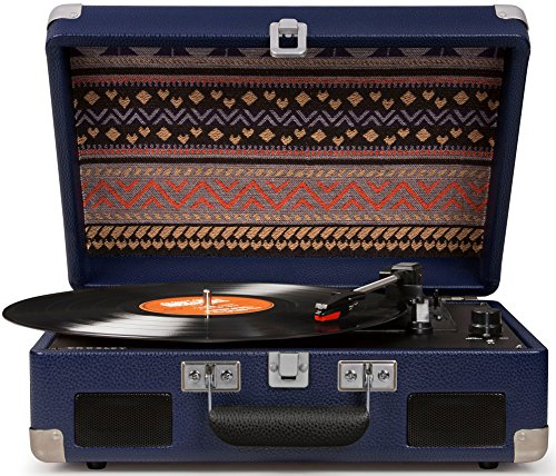 Crosley CR8005C-BL Cruiser II Portable Battery Powered 3-Speed Turntable, Blue