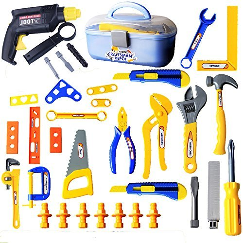 Durable Kids Tool Box Set, with Electronic Cordless Drill, 42Pcs Pretend Play Construction Accessories in Sturdy Case (Play Pretend Garage)