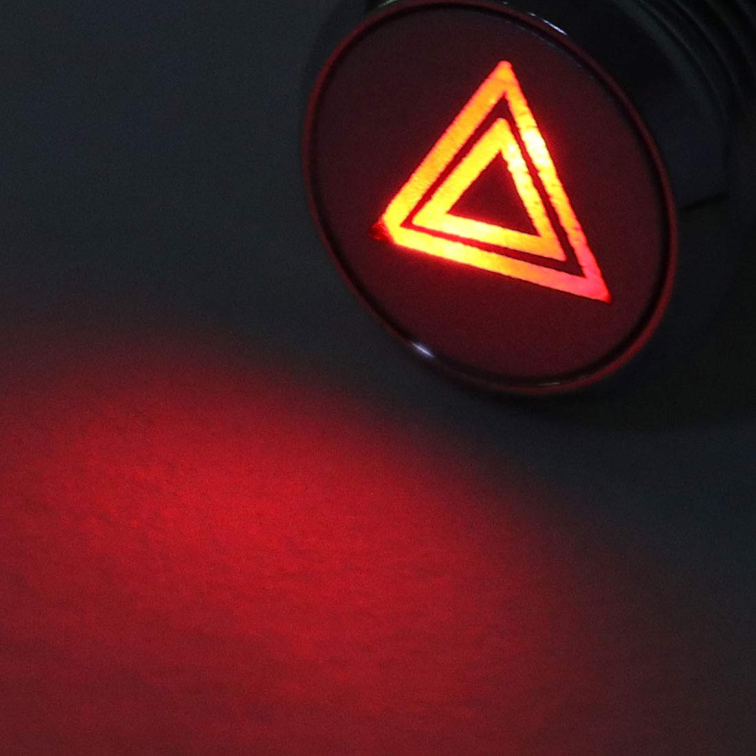 Double Flash uxcell Signal Indicator Light DC 12V 8mm Red LED Metal Shell with Symbol