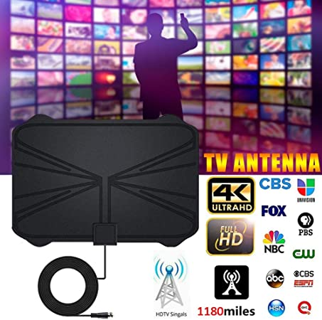 libelyef Antena de TV 1180 Millas 4K HDTV Digital TV Interior Antena con Amplificador Amplificador de señal Radio de TV Surf Fox Antena Free View Canales HD-335 X 235 X 0.6 mm: