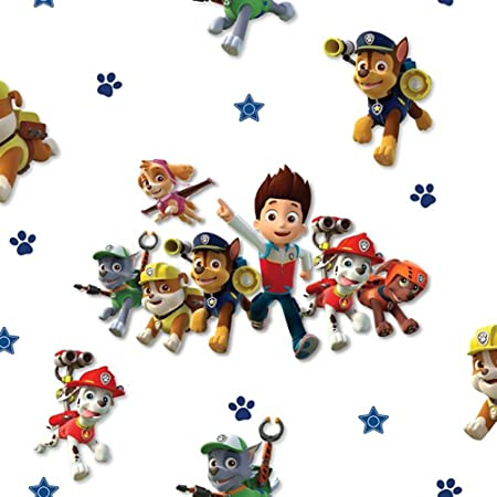 Nickelodeon Official Paw Patrol Wallpaper White 10m