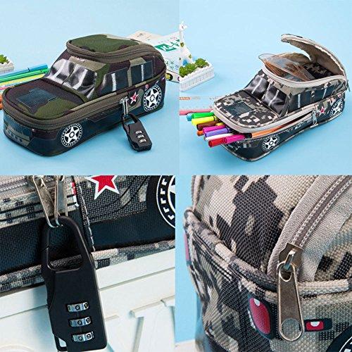 MAZIMARK--Kids Boys Pencil Box Case Students 3D Car Shape Canvas Stationery Bag Box New