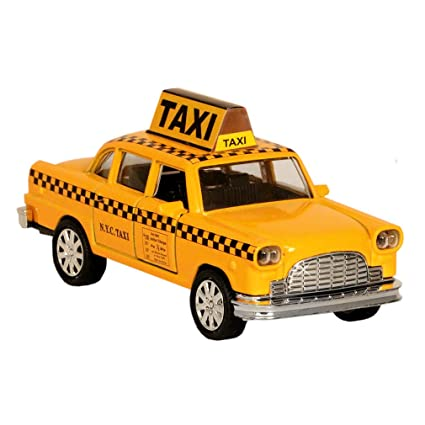 b2c30966abfa9 NYC Taxi in Yellow Cab with Pullback Action, Die Cast New York City Taxi Toy