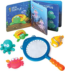 Build Me Baby Bath Book and Squirt Toys with Shark Net - Educational Waterproof Counting Book and Soft Sea Creatures Bath Toy Set for Babies and Toddlers - Make Bath Time Learning Colorful and Fun
