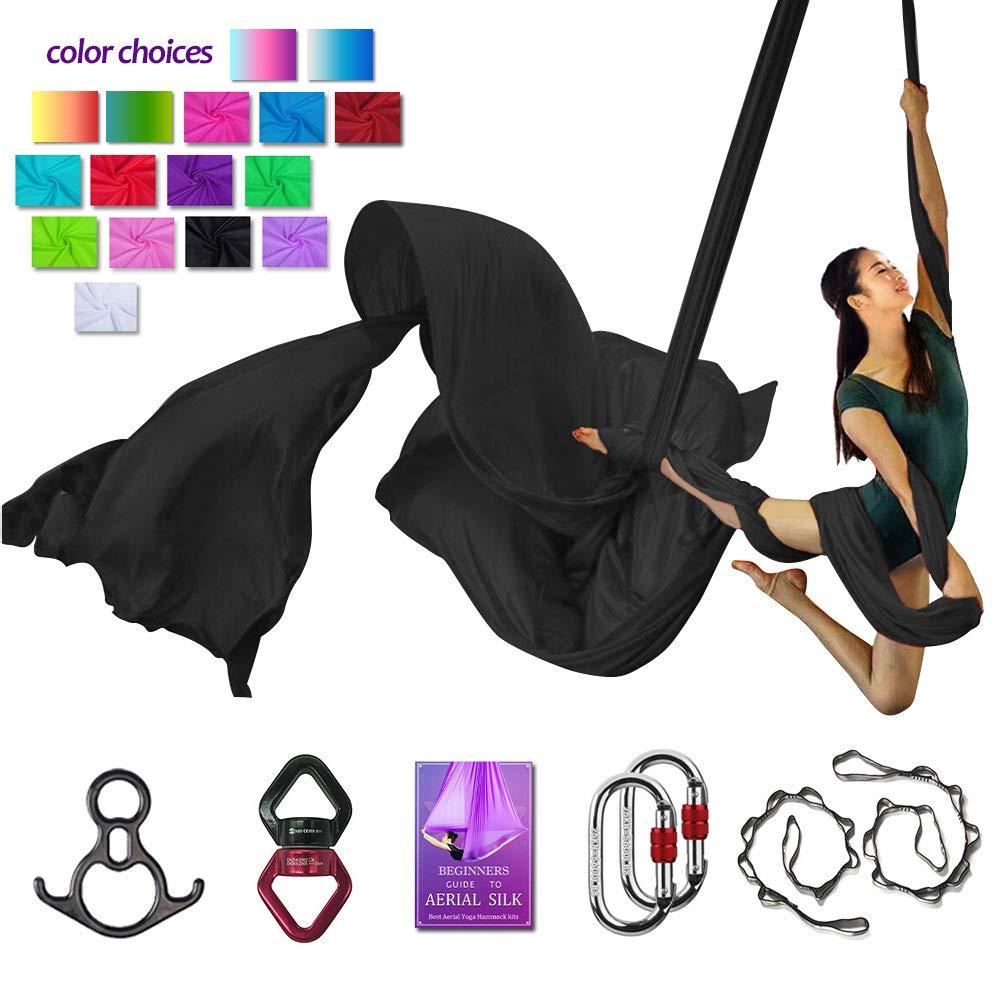 Aerial Silks Deluxe Equipment Set for Aerial Yoga, Aerial Yoga Hammock, Aerial Acrobatic,Circus Arts, Aerial Dance(L:10m W:2.8m (Black)
