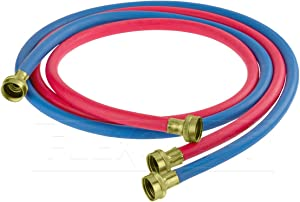 FlexCraft 25612K, Washing Machine Supply Line, For Hot And Cold Water Supply, Washing Machine Hose Connector EPDM Rubber Tube Cover 10 Ft (Pack Of 2-1 red 1- Blue)
