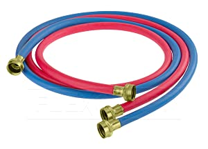 FlexCraft 25610K, Washing Machine Supply Line, For Hot And Cold Water Supply, Washing Machine Hose Connector EPDM Rubber Tube Cover 10 Ft (Pack Of 2-1 red 1- Blue)