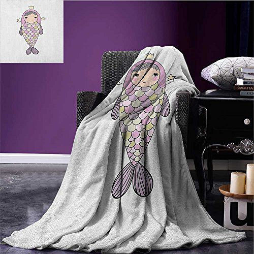 Mermaid Printed Blanket Fantasy Sea Life Mythological Character Girl in Fish Costume with Crown Moon Stars Minion Blanket Multicolor Size:59
