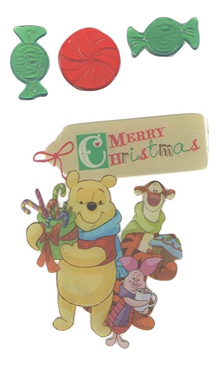amazon com disney winnie the pooh christmas reusable gel window