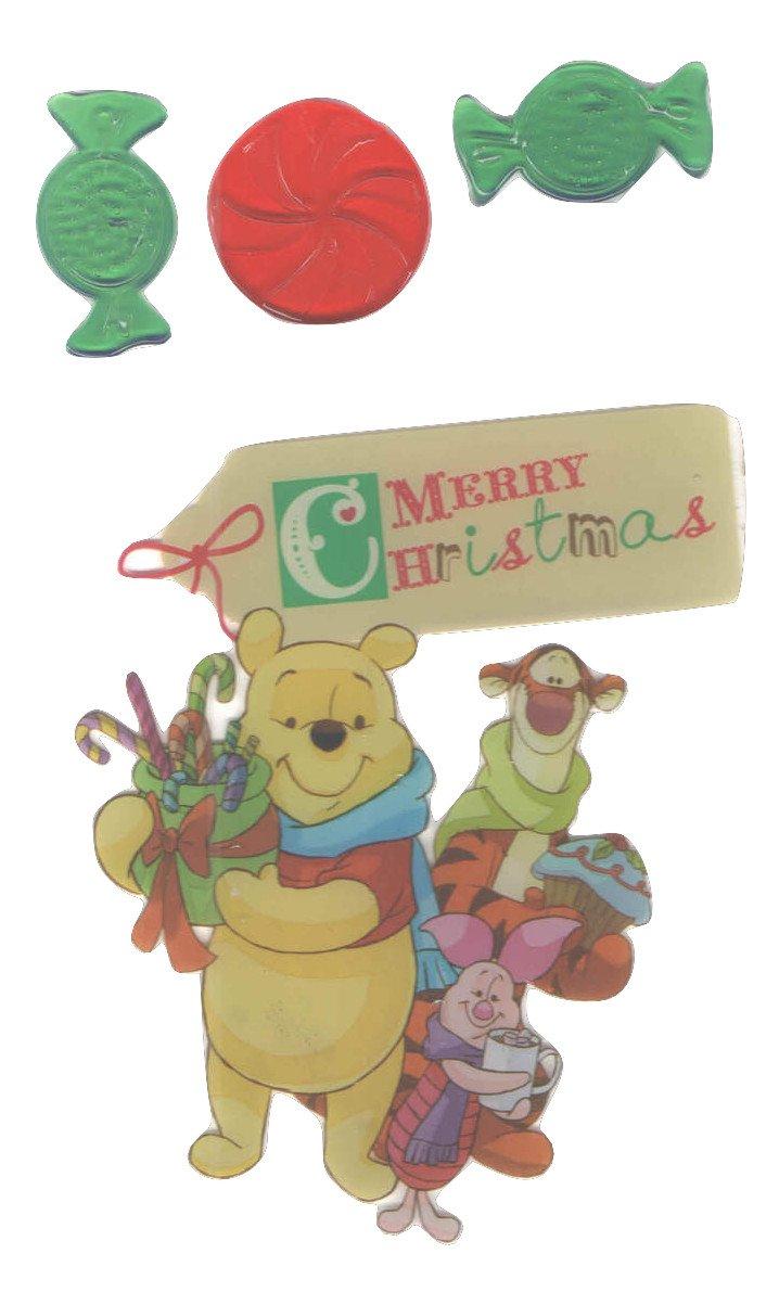 Disney Winnie the Pooh Christmas Reusable Gel Window Clings ~ Merry Christmas (4 Clings, 1 Sheet)