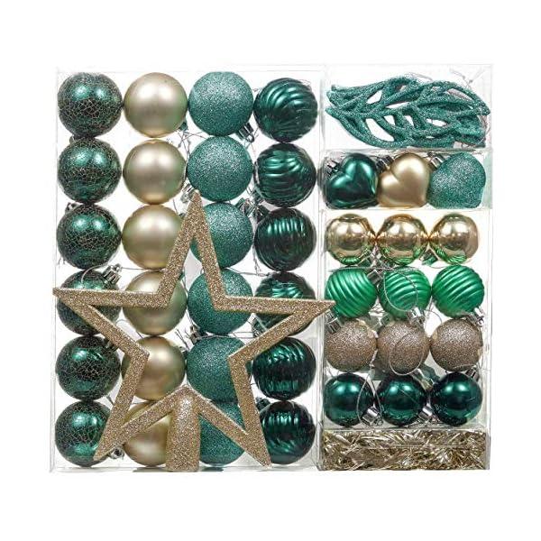 Valery Madelyn Palle di Natale 60 Pezzi di Palline di Natale, 3-5 cm di Carnevale della Foresta Pluviale Verde e Oro Infrangibile Ornamenti di Palla di Natale Decorazione per la Decorazione 1 spesavip