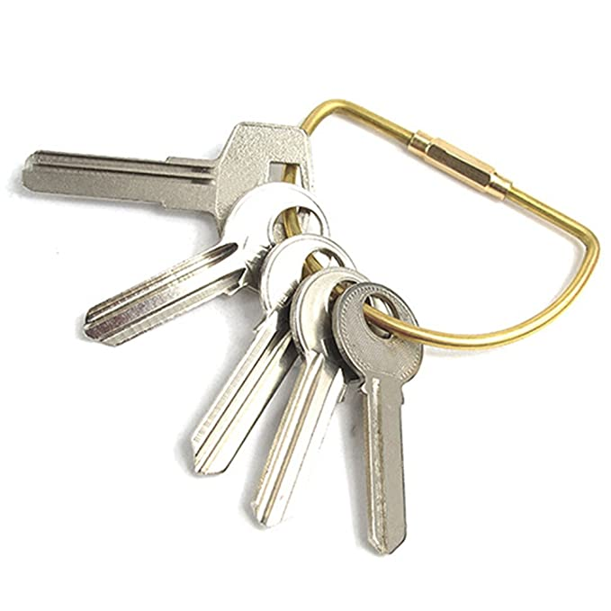 Quality Yes QY 2PCS Solid Brass Water-Drop Shape Metal Key Ring Keychain Keyholder Screw-Lock Key Ring