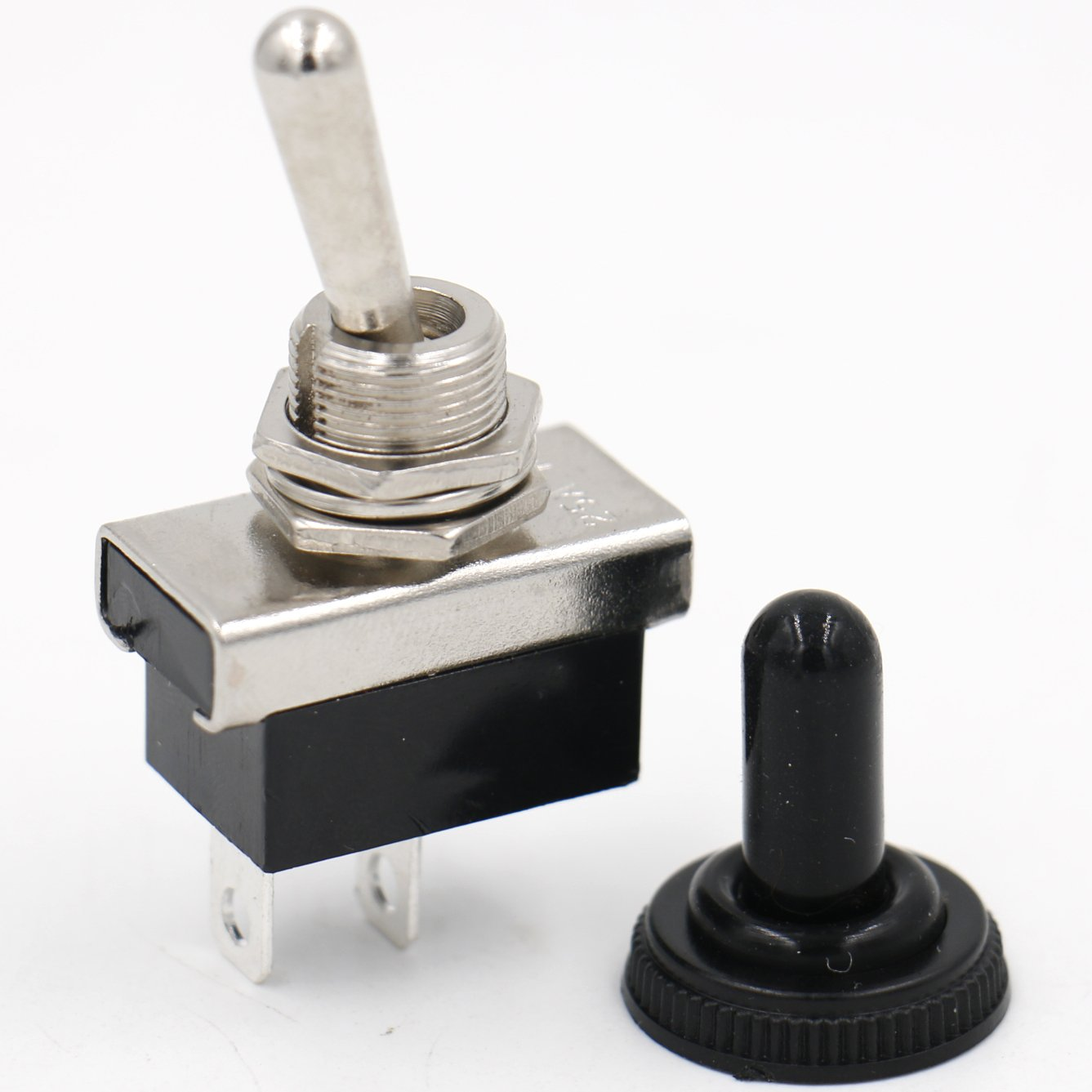 Heschen Metal Toggle switch Flick Flip 12V 25A SPST On//Off 2 positon 2 pin for Car Dash Light with waterproof cap