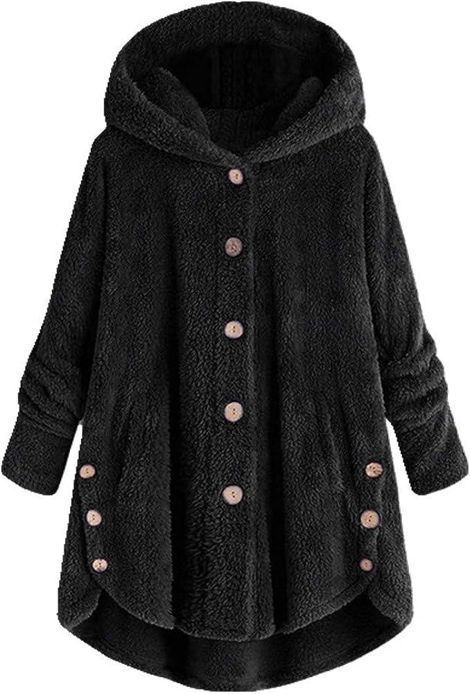 N\P Abrigos y Chaquetas Mujer Bolsillos Botón Abrigo Tops Pullover Suelto Otoño Invierno Ropa