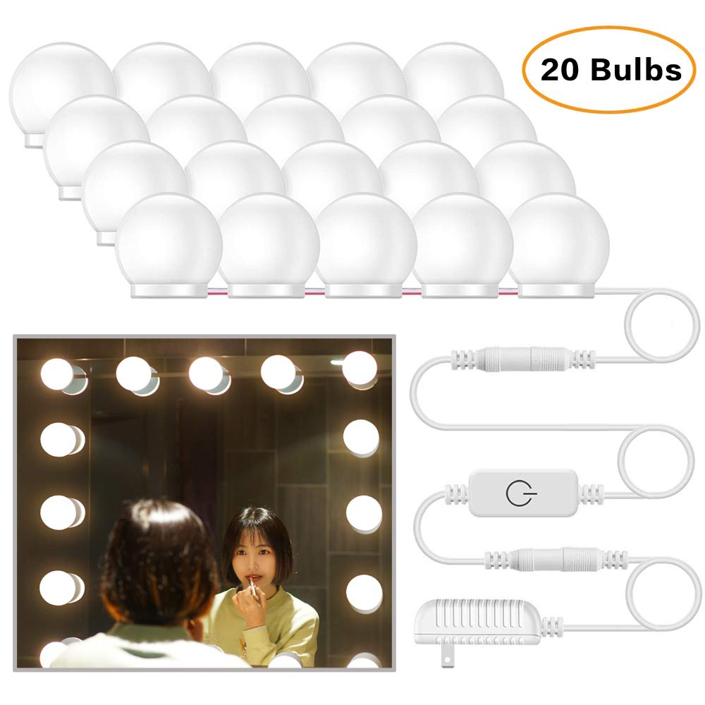 eTopxizu Vanity Mirror Lights, Hollywood Style LED Vanity Mirror Lights Kit with 20 Dimmable Light Bulbs for Vanity Table Makeup Mirror (Mirror Not Included)