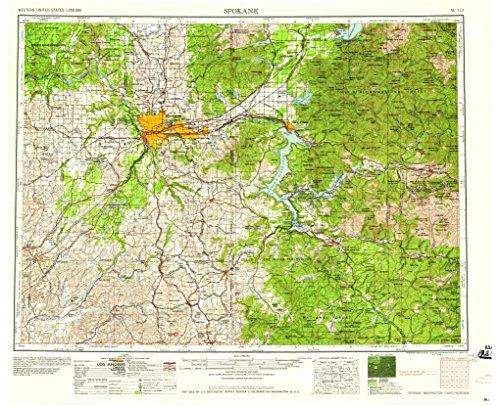 YellowMaps Spokane WA topo map, 1:250000 Scale, 1 X 2 Degree, Historical, 1958, 22.1 x 27.2 in - Polypropylene (Blackwell Hanging)