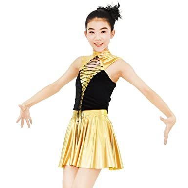 1e17689c9 Amazon.com  MiDee Jazz Dance Costume Golden Metallic Foiled Spandex ...