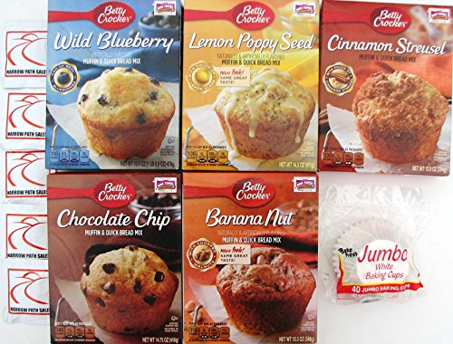 Mini Muffin Banana (Betty Crocker Muffin and Quick Bread Box Mix Assorted Flavors, 5 Boxes + Jumbo Baking Liners + Sanitizing Hand Wipes. Bundle of 6)