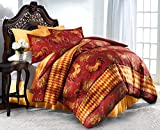rooster quilt pattern - The Paragon Rooster Duvet Cover Set - Soft, Microfiber Reversible Comforter Cover, Printed Pattern, Easy Care Comfortable Duvet Cover with Matching Pillow Shams (King)
