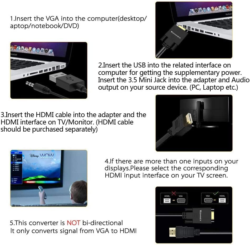 VGA a HDMI cable, shiningday VGA macho a HDMI hembra convertidor de cable adaptador con vídeo HD de 1080p y soporte de audio USB para conectar Viejo PC, portátil con una salida