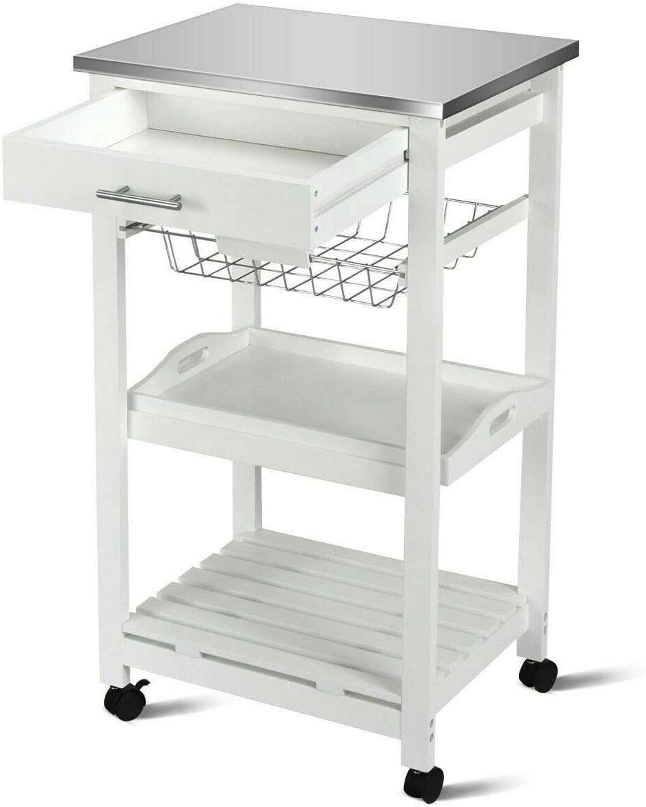 Linio-home Microwave Carts Rolling Kitchen Island Cart with Wheels Small Moveable Cart White Kitchen Cart with Storage and Drawers