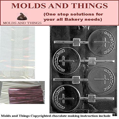 CONFIRMATION Lolly Chocolate Candy Mold With © Molding Instruction+set of 50 Lollipop Packaging Kit (Chocolate Molds Confirmation)