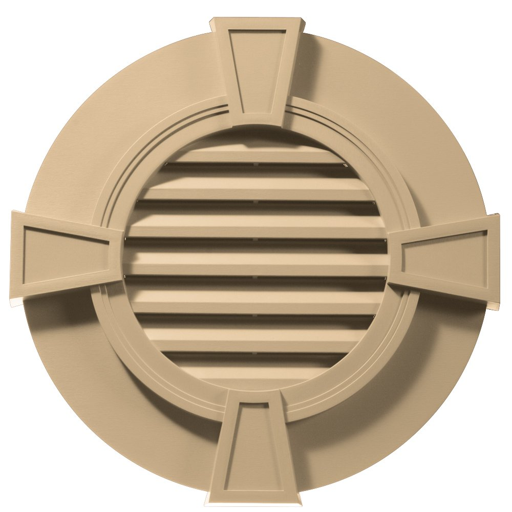 Builders Edge 120033030045 30'' Round Octagon Vent Wide Ring and Keystones 045, Sandstone Maple