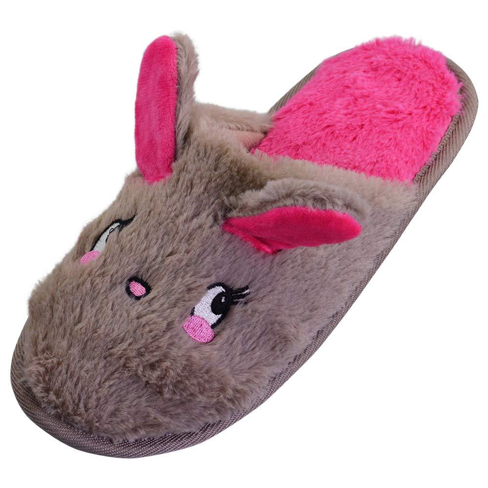 LA PLAGE Girl Winter Autumn Comfort Cute Rabbit Cartoon Pattern Indoor House Slippers
