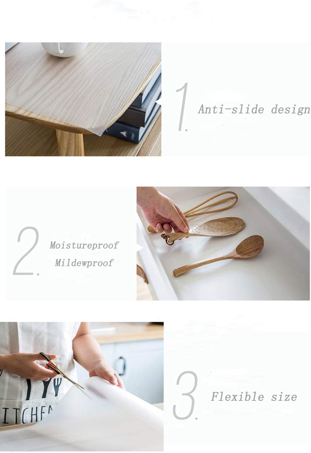 17.7 x 118 inches Bloss Drawer and Shelf Liner Non-Slip Non-Adhesive Water-Poof Durable Fridge Mat for Kitchen Shelf Cabinet Clear