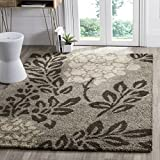Safavieh Florida Shag Collection SG456-7928 Smoke and Dark Brown Square Area Rug (5′ Square)