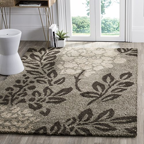Safavieh Florida Shag Collection SG456-7928 Smoke and Dark Brown Area Rug (8'6