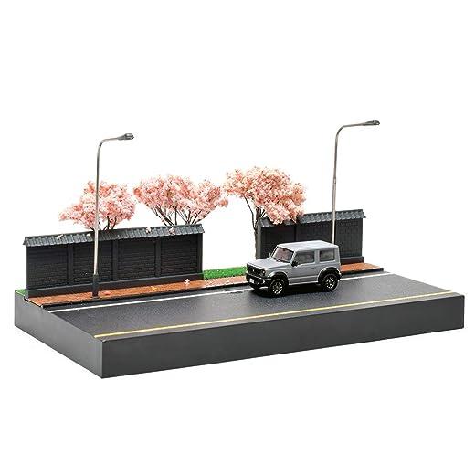 1/64 スケール 桜の夜 ストリートシーン 車モデル シーンシミュレーションモデル ジオラマ 情景 ミニカー用 ABS樹脂製 ミニカー アクセサリー