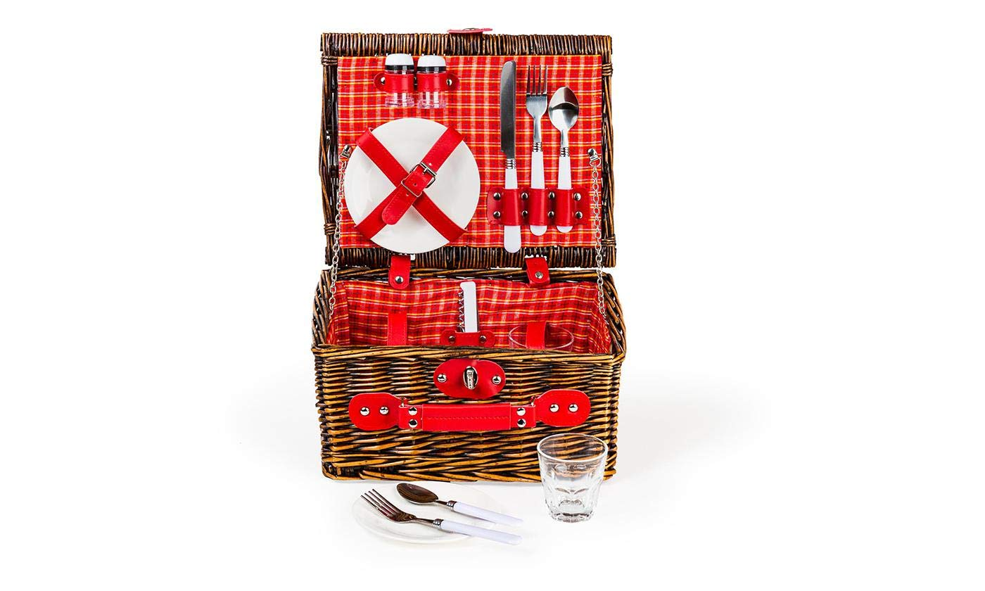 Lexi Home Wicker Picnic Basket for 2 or 4   Picnic Set with Serveware   Picnic Kit with Reusable Plates, Cups, and Utensils   Picnic Gift Set (Red & White Plaid/2 Person) by Lexi Home