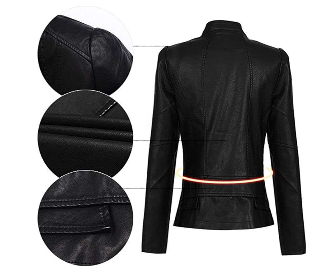 Chaqueta de PU cuero motera corta vintage rock chaquetas de ...