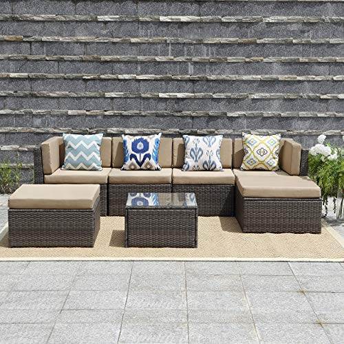Wisteria Lane Outdoor Patio Furniture Set,7 Piece Rattan Sectional Sofa Couch All Weather Wicker Conversation Set with Ottoma Glass Table Grey Wicker, Beige Cushions (Sets Cheap Sale Patio)