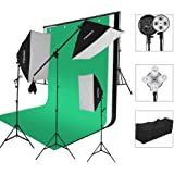 """CRAPHY Photography Studio Lights Continuous Soft Box Lighting Kit 45W 5500k Daylight Soft Box (20x26"""") + Background Support Stand (10x6.5FT) + 3 Backdrops (9x6FT, White Back Green) + Carrying Bag"""